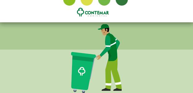 coletores de lixo empurrando contentor verde