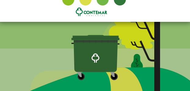 Desenho de um contentor posicionado ilustrando a rota dos caminhões de lixo